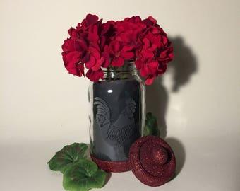 Rooster and Chicken. Mason Jars. Decorative Etched Glass Glitter Jar Flower Vase. Tea Light Candle Holder. Kitchen Utensil Storage Container