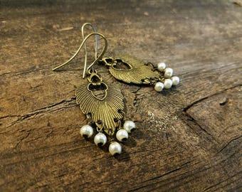 Boho Earrings, Bronze Earrings, Chandelier Earrings