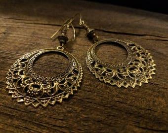 Boho Earrings, Victorian Style Earrings, Bronze Earrings