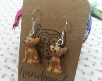 Gorgeous Handmade Chuihuahua Dog Brick Earrings, Sterling Silver, Made using Lego pieces