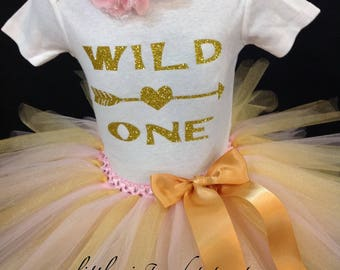 Pink and Gold First Birthday Outfit, First Birthday Tutu Set, Pink Birthday Tutu, Wild One Birthday Shirt Tutu Set, Girls Birthday Outfit