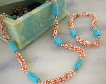Blue Bead Chainmaille Jewelry Set - Chainmaille Necklace - Chainmaille Bracelet - Extra Long Necklace - Station Necklace - Copper Jewelry