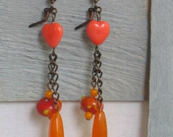 Earrings Metal and orange glass beads