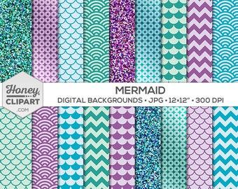 Mermaid digital paper / teal purple and aqua mermaid clipart / mermaid party printable download / mermaid backdrop / glitter scale scallop