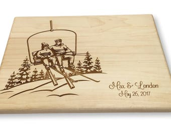 Personalized Cutting Board Ski Couple Chair Lift Lasered Engraved Wedding Present Anniversary Bridal Shower Mountain Art