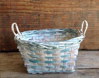 Small Vintage Woven Basket. Vintage Oval Basket. Vintage Basket. Woven Blue Basket. Small Vintage Basket. Small Basket. Vintage Blue Basket.
