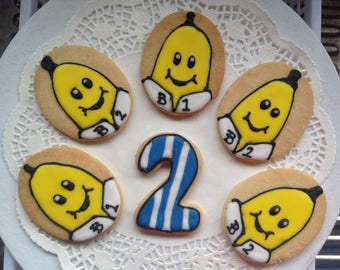 16 Banana in Pyjamas  iced Cookies Platter.