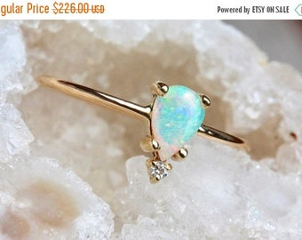 ON SALE 14k Pear Opal Ring, Teardrop Opal Ring, Tear Ring, Prong Setting, October Birthstone, Solid Gold, Tiara Ring Ring, Floating Stone