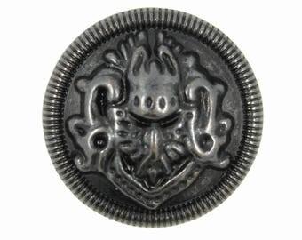 Metal Buttons - Medallion Vintage Black Metal Shank Buttons - 25mm - 1 inch - 6 pcs