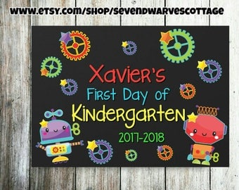 Boys Robots First Day of school personalized chalkboard sign - Robots and Gears 1st day of school printable sign - First Day chalk printable