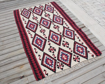Turkish Kilim Rug 41''x64'' Hand Woven Van Kilim 106x165cm Vintage Area Rug Wool