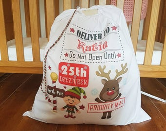Personalised Christmas Santa bag sack large Xmas presents gifts customised name Santa reindeer snowman penguin elf North pole drawstring bag