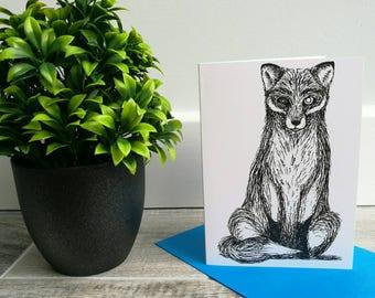 Fox A6 Greetings Card - fox card - illustration - art