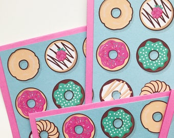 Donuts Stationery Set - Set of Six Greeting Cards With Envelopes