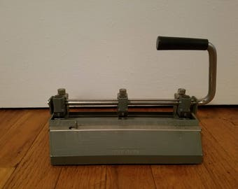 Vintage Boston 3 Hole Punch 60s Mid Century Office Desk Hunt Manufacturing Co.