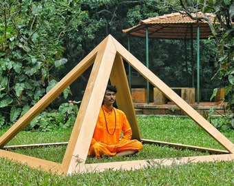 Wooden Meditation Pyramid 8 Base for Spiritual Healing Heavy Duty for Indoors