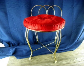 Exceptional Vintage Vanity Chair Make Up Chair Gold Metal Frame With Red Padded Seat