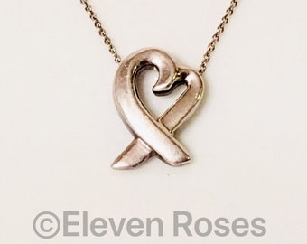 Tiffany & Co. Paloma Picasso Loving Heart Necklace 925 Sterling Silver Free US Shipping