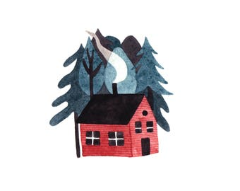 Tiny Home Illustrated Print