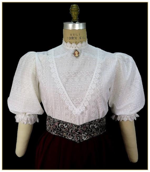 Victorian Blouses, Tops, Shirts, Vests Embroidered Stripe Victorian BlouseEmbroidered Stripe Victorian Blouse $92.00 AT vintagedancer.com