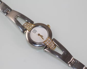 Vintage ESQ Swiss watch E5251 fully working with Rhinestones two color