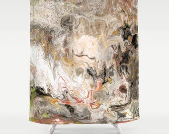 Earth tone Marble Shower Curtain - layers, strata, granite, geology paint pouring,  modern marble, unisex unique, home decor bathroom