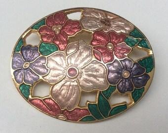 Pretty 1980s Floral Design Cloisonne Enamel Peony Rose Brooch