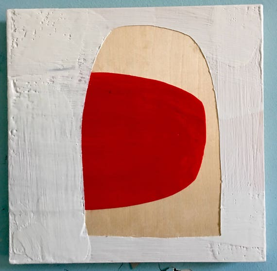 "Lipstick, 10"" square encaustic painting"
