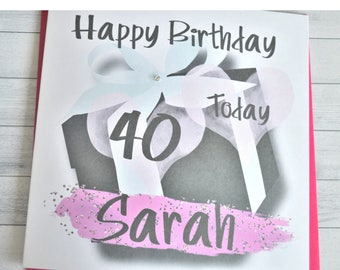 Handmade Personalised Customised Birthday Card Daughter Wife Sister Girlfriend 18 21 30 40 50