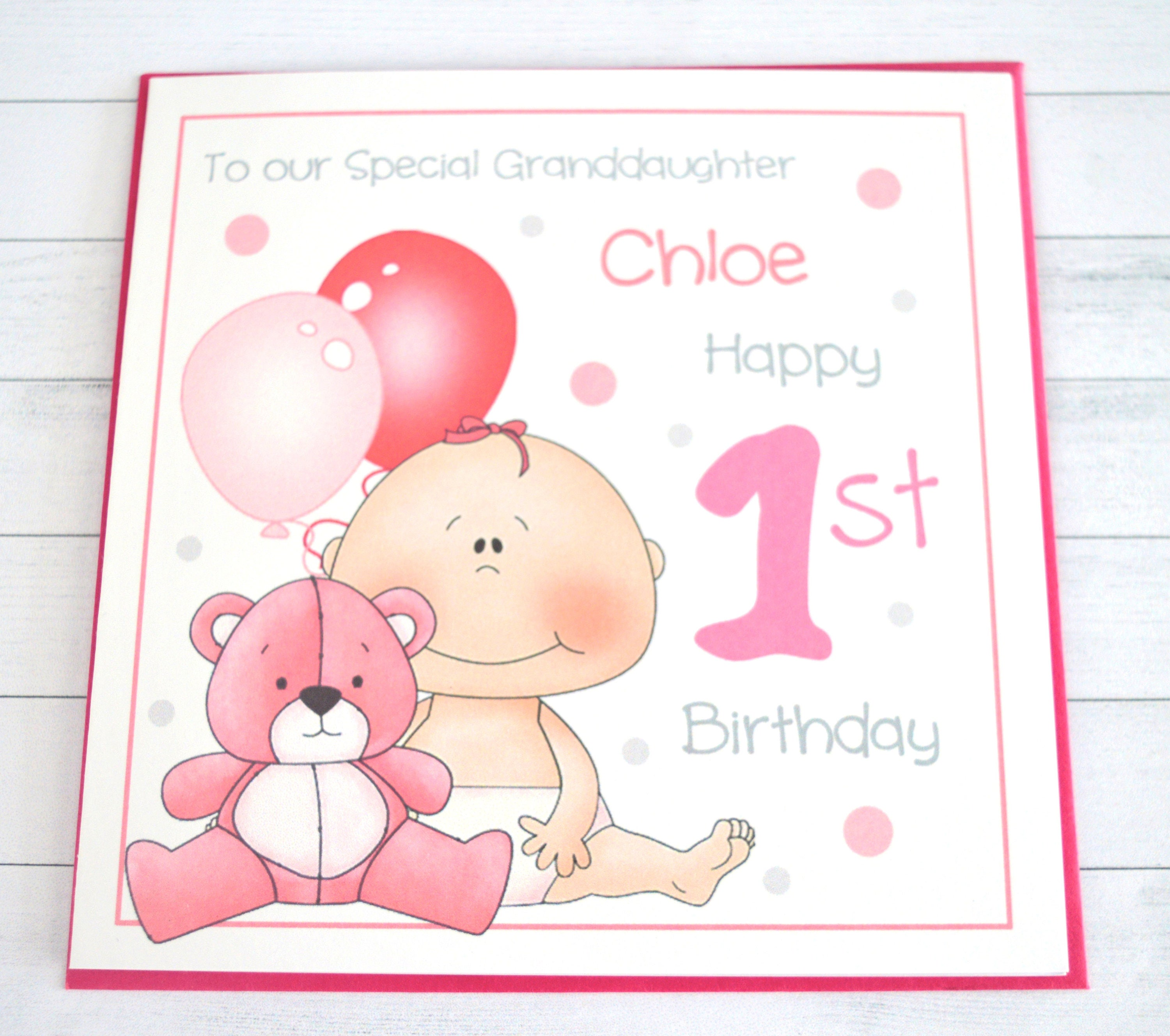 Personalised Customised Baby Girl 1st Birthday Greeting Card