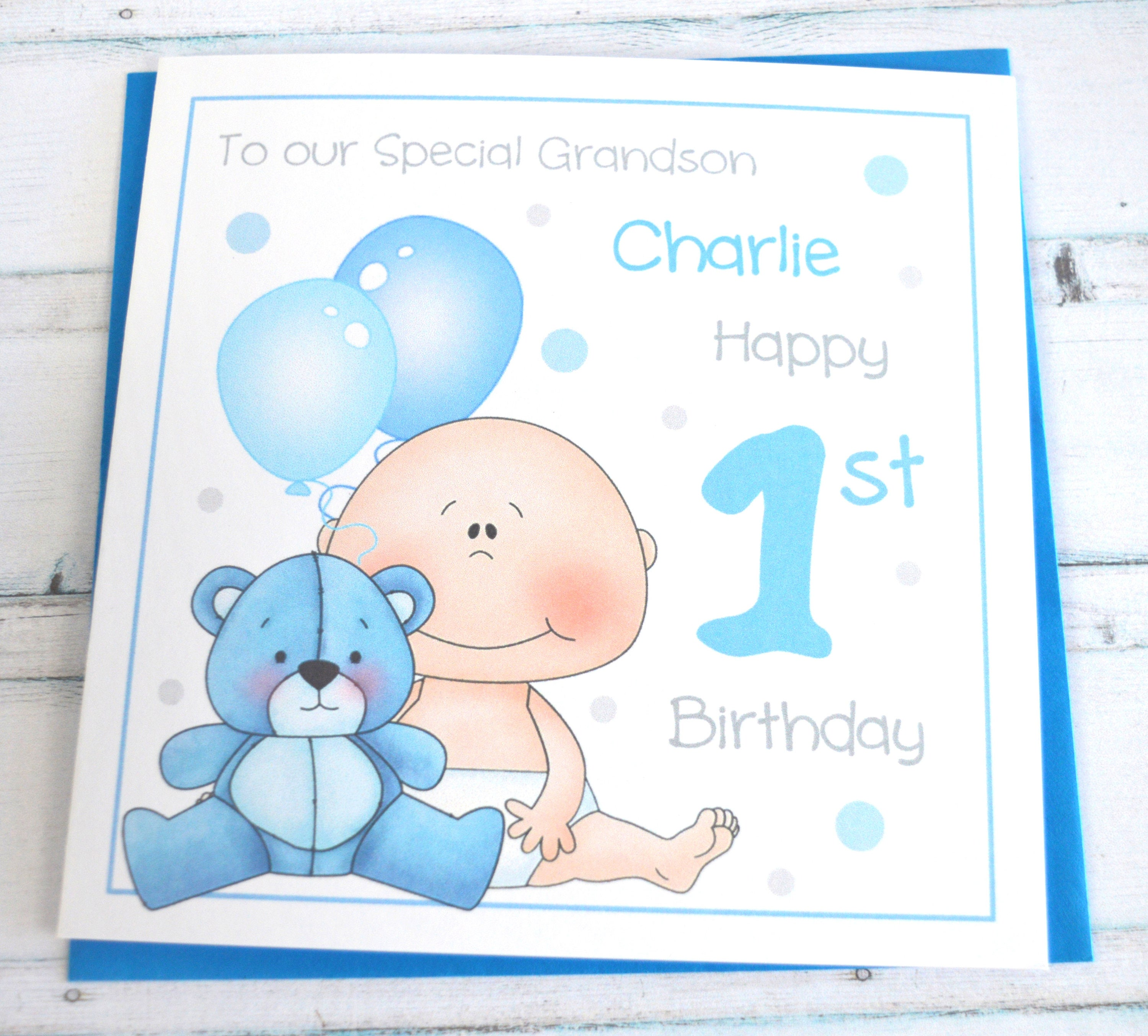 Personalised Customised Baby Boy 1st Birthday Greeting Card Son
