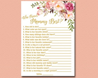 Who Knows Mommy Best Floral Baby Shower game, Printable, Peach, pink, gold Boho Baby Shower Activity Bohemian DIY Instant Download 029