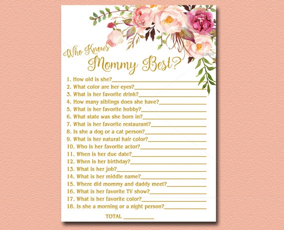 Who Knows Mommy Best Floral Baby Shower game Printable