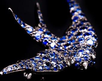 Stunning Swallow Sapphire & Diamond Bird Brooch in 18 Karat Gold