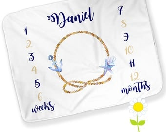 Personalized Monthly Nautical Anchor Baby Blanket - Boy Growth Chart - Week & Month Milestones - Nautical Photo Prop - Watch Me Grow Blanket