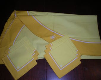 "New from Old Stock Vintage Anne Klein 70"" round table cloth and 6 matching napkins two tones of yellow and white stripe"
