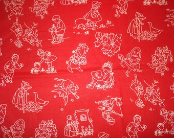 Nursery Rhyme Fabric Cotton White on Red one piece 1 yard & 30 inches by Faye Liverman Burgos For Marcus Brothers Textiles