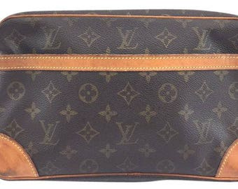 Louis Vuitton #13036 Jumbo Vachetta Leather Cosmetic Case Trousse Cosmetic Monogram Clutch