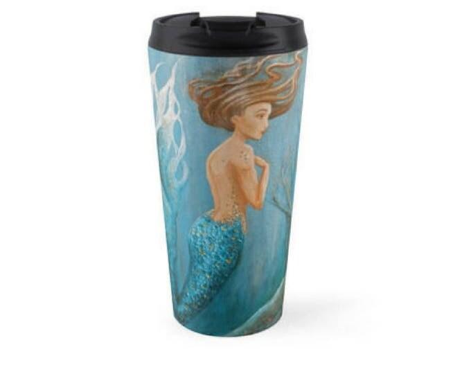 Mermaid teal travel mug, insulated stainless steel mermaid mug, mermaid gift, mermaid travel drink holder, Original art by Nancy Quiaoit.