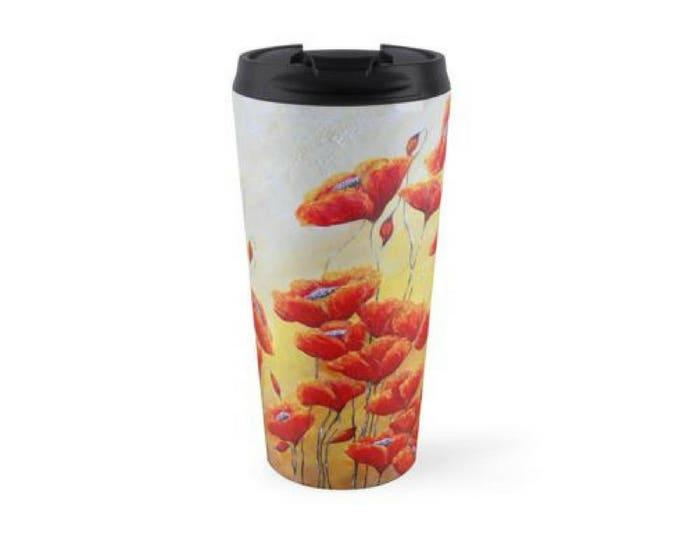 Poppy fairy travel mug, insulated stainless steel fairies mug, fairy travel drink holder, Original art by Nancy Quiaoit.