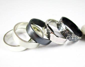Sterling Silver Band (1) 5mm .925 Sterling Silver Ring High Polish Ring Satin Ring Patina Ring Hammered Ring Wedding Band Silver Band