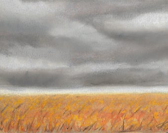 Rainy Storm Cloud Corn Field Pastel Landscape Drawing Artwork