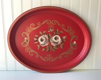 Vintage Red Metal Tray, Mauve and Gold Rose Pattern, Hand Painted, Oval, Serving, Shabby Chic, Cottage Kitchen, Made in USA, Nash and Co.