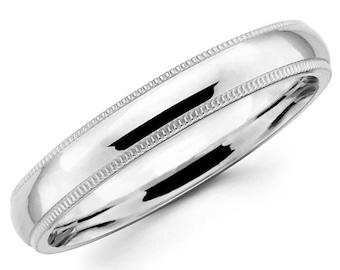 14K Solid White Gold 3mm Milgrain High Polish Comfort Fit Wedding Band Ring
