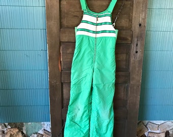 Vintage 80's Green and White Puffy Snow Suit Overalls/ Coveralls/ Jumpsuit size extra small