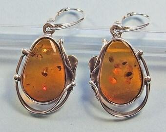 Genuine Baltic amber sterling silver  earrings.