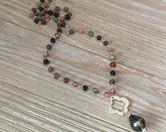 """Tahitian pearl necklace~beaded tourmaline with sterling silver~S925 quatrefoil connector 16"""" with 1"""" drop"""