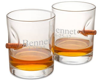 Personalized Bulletproof Lowball Whiskey Glass - Set of 2 - Groomsmen Gifts - Gifts for Him- RO169