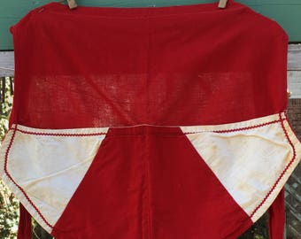 Vintage Red White Apron