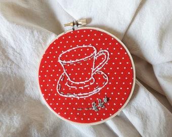 Teacup Hand Embroidery Art